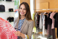 Woman in clothing store royalty free stock images