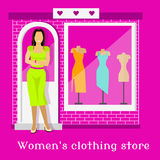 Woman Clothing Urban Store Design Stock Image