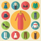 Woman clothing vector icons set Stock Photo