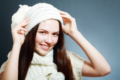 Woman clothing in warm hat Stock Photo