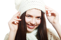 Woman clothing in warm hat Stock Images