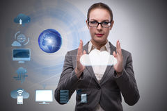 The woman in cloud computing concept Royalty Free Stock Photos