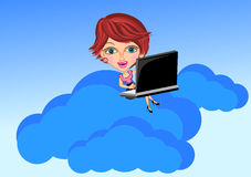 Woman and Cloud computing concept Stock Images