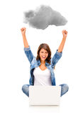 Woman cloud computing Stock Photography