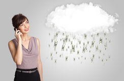 Woman with cloud and money rain concept. Woman with white cloud and money rain concept stock photos