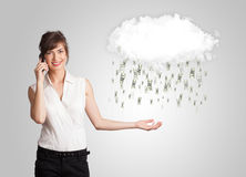 Woman with cloud and money rain concept. Woman with white cloud and money rain concept stock photography