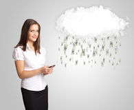 Woman with cloud and money rain concept. Woman with white cloud and money rain concept stock illustration