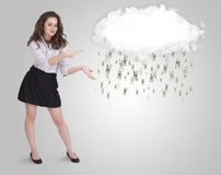 Woman with cloud and money rain concept. Woman with white cloud and money rain concept royalty free stock image