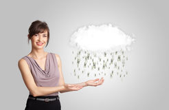 Woman with cloud and money rain concept. Woman with white cloud and money rain concept royalty free stock photos