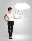 Woman with cloud and money rain concept. Woman with white cloud and money rain concept royalty free stock photo