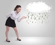 Woman with cloud and money rain concept Royalty Free Stock Image