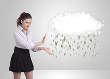 Woman with cloud and money rain concept. Woman with white cloud and money rain concept stock image