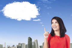 Woman with cloud thinking idea Royalty Free Stock Photo