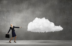 Woman with cloud Stock Photography