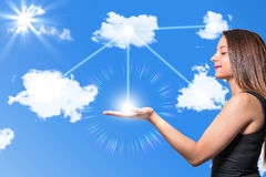 Woman among the clouds Stock Images