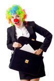 Woman clown. In business suit Stock Photos