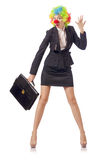 Woman clown. In business suit Royalty Free Stock Photography