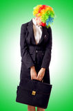 Woman clown. In business suit Stock Photography