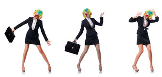 The woman clown in business suit Royalty Free Stock Photography