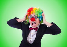Woman clown businesswoman isolated on white Royalty Free Stock Photos