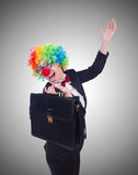 Woman clown businesswoman isolated on white Stock Images