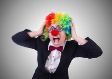 The woman clown businesswoman isolated on white Stock Photos