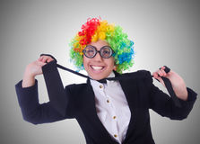The woman clown businesswoman isolated on white Royalty Free Stock Photo