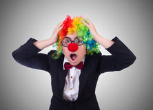 The woman clown businesswoman isolated on white Stock Images