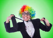 The woman clown businesswoman isolated on white Stock Image