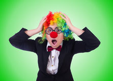The woman clown businesswoman isolated on white Stock Photography