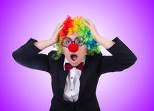 Woman clown businesswoman isolated on white Stock Image