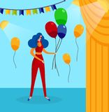 Woman in Clown Costume on Backstage Background. Funny Woman in Clown Costume, Blue Haired Periwig on Head and Red Round Nose Holding in Hands Bunch of Balloon stock illustration