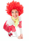 Woman clown with red hair Stock Photography