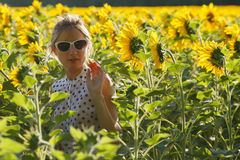Woman clowns in the sunflowers Royalty Free Stock Image