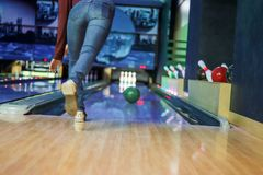 Woman in club for bowling royalty free stock photo