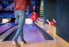 Woman in club for bowling stock images