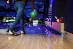 Club for bowling is throwing ball royalty free stock photo