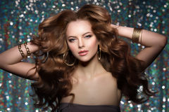Woman club lights party background Dancing girl Long hair. Waves Stock Photography
