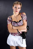 Woman with clutch bag Stock Photo
