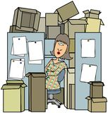 Woman In A Cluttered Cubicle Royalty Free Stock Photos