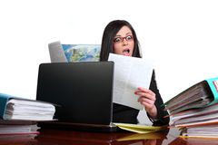 Woman cluttered with papers Royalty Free Stock Photo