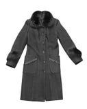 Woman coat. Black woman coat isolated on white Stock Images