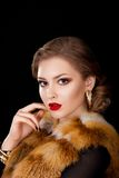 Woman in Coat Fox Fur Collar - Opera Cloak Royalty Free Stock Image