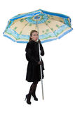 Woman in coat with parasol Royalty Free Stock Photo
