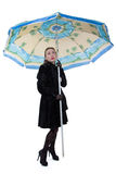 Woman in coat with parasol Royalty Free Stock Images