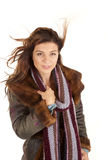Woman coat scarf wind Royalty Free Stock Photo