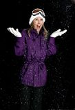 Woman in coat with snowfall Royalty Free Stock Photos