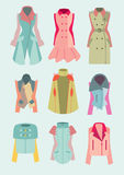 Woman coats and jackets. Collection of retro and modern woman coats and jackets illustration Stock Photo
