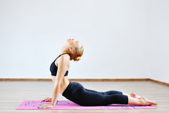 Woman in the cobra yoga pose.  Royalty Free Stock Photo