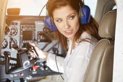 Woman in cockpit Royalty Free Stock Photography